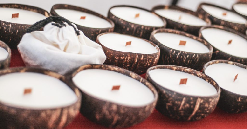 soy way candles in a coconut shell